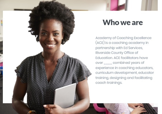 who we are description with an African american teacher smiling next to the text box