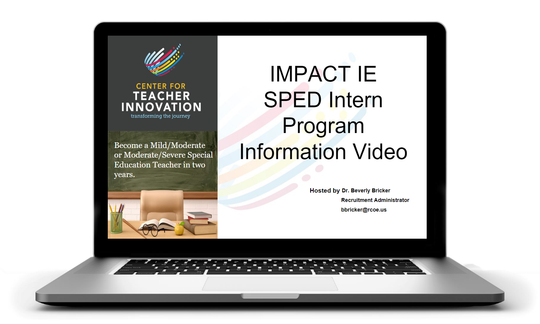 Laptop that displays website for Teacher Innovation