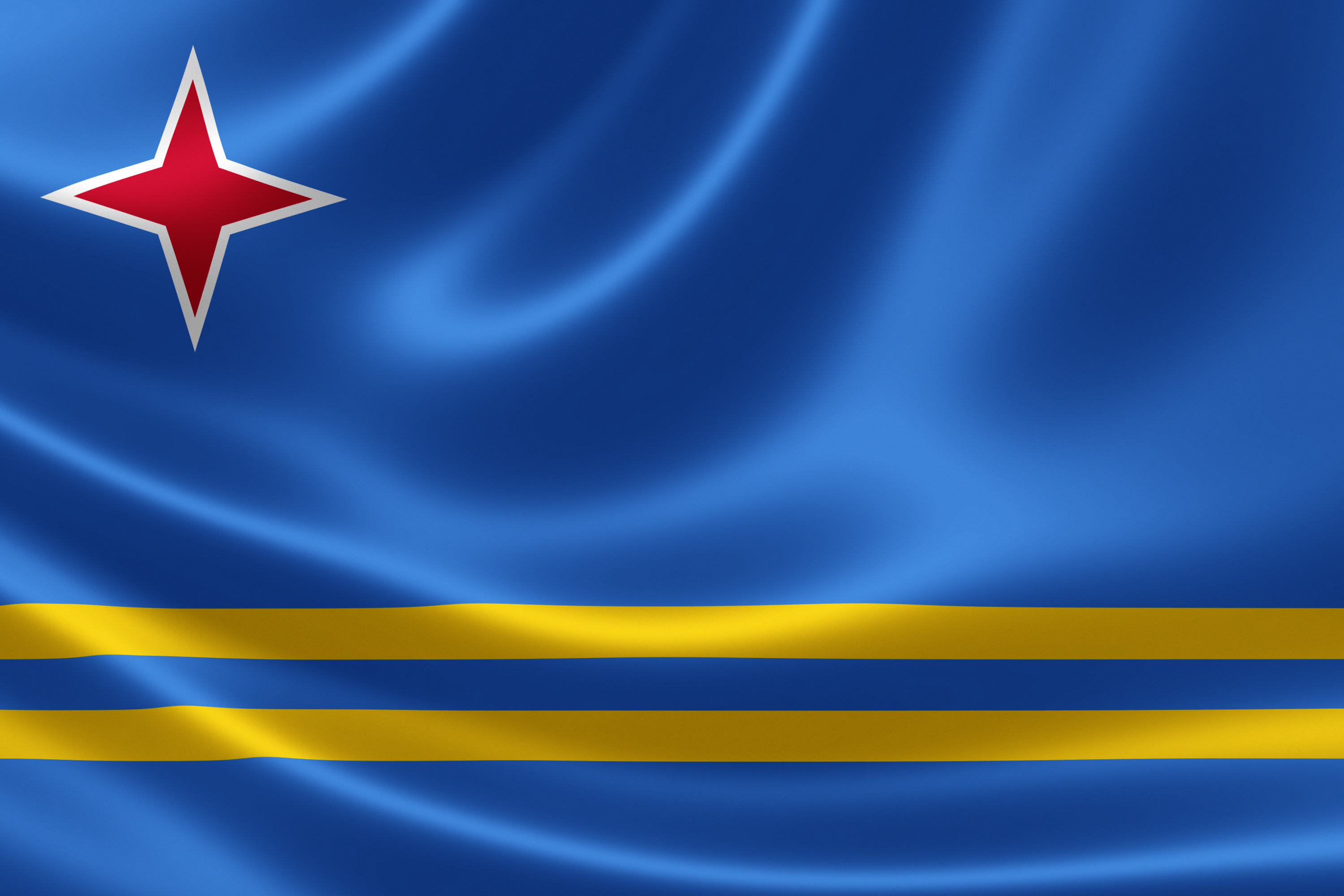3D rendering of the flag of Aruba on satin texture. Aruba is a constituent country of the Kingdom of the Netherlands in the southern Caribbean Sea
