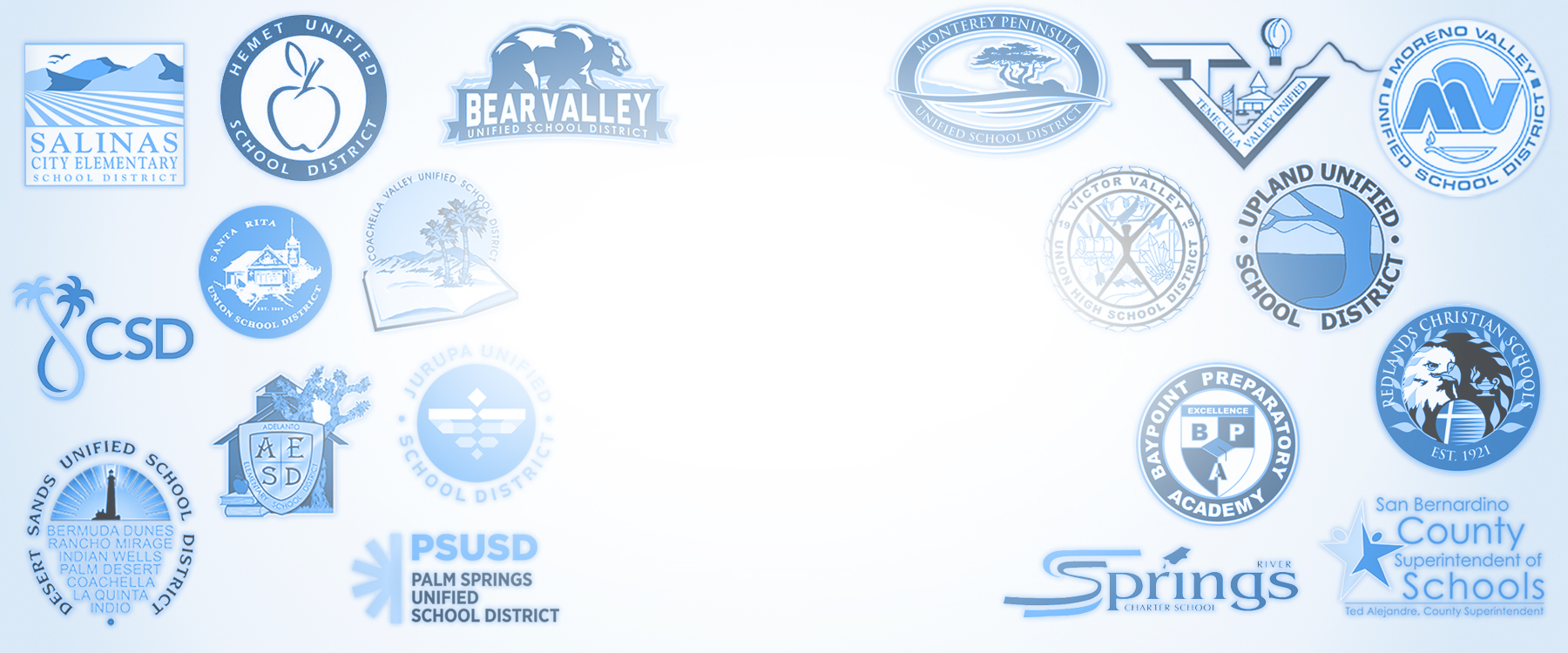 a large emblem with school districts that are in the Riverside County