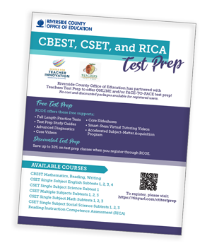 CBEST, CSET, and RICA Test Prep flyer